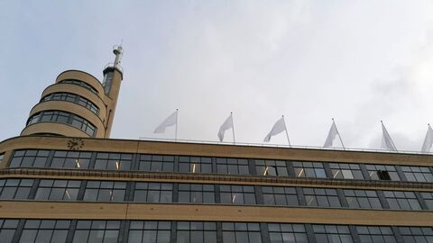 White flags on Flagey building to honour healthcare workers